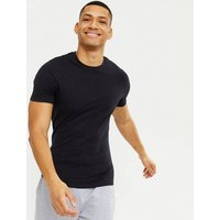 Men's Navy Muscle Fit Cotton T-Shirt New Look