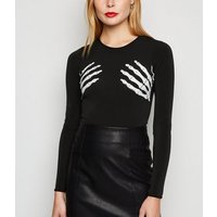 Carpe Diem Black Halloween Skeleton Bodysuit New Look