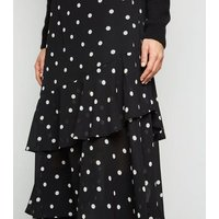 Black Spot Print Frill Chiffon Midi Skirt New Look