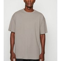 Pale Grey Crew Oversized Heavy Cotton T-Shirt New Look