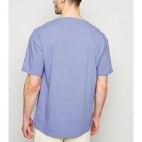 Light Purple Crew Oversized Heavy Cotton T-Shirt New Look