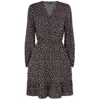 Black Heart Print Frill Wrap Dress New Look