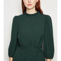 Dark Green Frill Neck Belted Mini Dress New Look