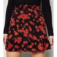 Urban Bliss Black Floral Frill Mini Skirt New Look