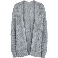 Cameo Rose Grey Cable Knit Cardigan New Look