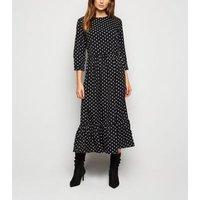 Urban Bliss Black Spot Tiered Midi Dress New Look