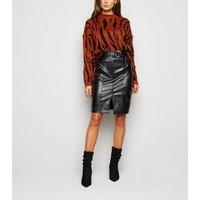 Urban Bliss Black Leather-Look Midi Skirt New Look