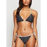 White Spot Reversible Tie Side Bikini Bottoms New Look