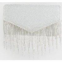 Silver Diamanté Tassel Clutch Bag New Look