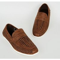 Dark Brown Leather-Look Woven Loafers New Look