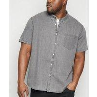 Plus Size Grey Short Sleeve Denim Shirt New Look