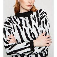 Urban Bliss Black Zebra Print Crop Jumper New Look