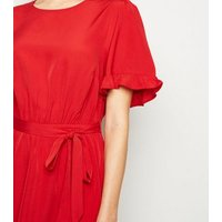 Red-Frill-Sleeve-Mini-Dress-New-Look