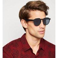 Black Slim Frame Round Sunglasses New Look