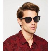 Black Matte Round Sunglasses New Look