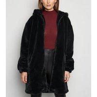 Black Longline Faux Fur Hooded Bomber Jacket New Look