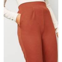Innocence Rust Jersey Tapered Trousers New Look