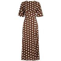 Innocence Rust Spot Corset Waist Midi Dress New Look