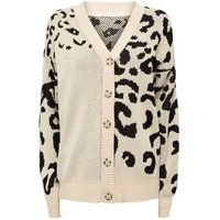 Cameo Rose Brown Leopard Print Knitted Cardigan New Look