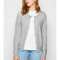 Pale Grey Crew Neck Button Up Cardigan New Look