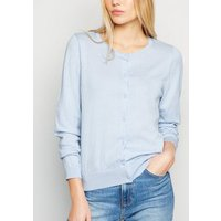 Pale Blue Crew Neck Button Up Cardigan New Look
