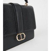 Black Faux Snake Panel Top Handle Shoulder Bag New Look Vegan