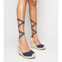 Navy Ribbon Ankle Tie Espadrille Wedges New Look Vegan