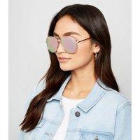 Rose Gold Mirrored Pilot Sunglasses New Look