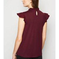 Burgundy Frill Neck Flutter Sleeve Blouse New Look