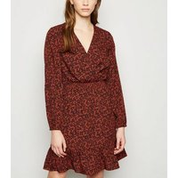 Brown Floral Mini Wrap Dress New Look
