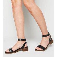 Black Leather Low Block Heel Sandals New Look