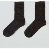 Black Glitter Pointelle Socks New Look