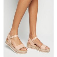 Pale Pink Leather-Look Woven Flatform Sandals New Look