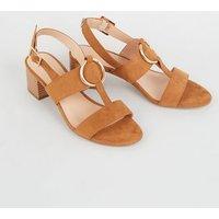 Tan Suedette Ring Strap Block Heel Sandals New Look