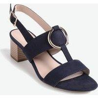 Navy Suedette Ring Strap Block Heel Sandals New Look