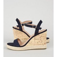 Navy Suedette 2 Part Cork Wedges New Look Vegan