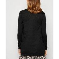 Black Double Pocket Fine Knit Cardigan New Look