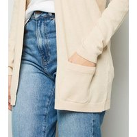 Cream Double Pocket Fine Knit Cardigan New Look