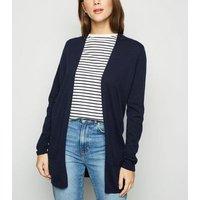 Navy Double Pocket Fine Knit Cardigan New Look