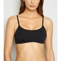Black Scoop Crop Bikini Top New Look