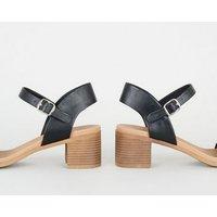 Black Leather-Look Low Block Heel Sandals New Look Vegan