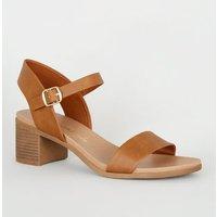 Tan Leather-Look Low Block Heel Sandals New Look Vegan