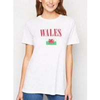 White Wales Flag Rugby Slogan T-Shirt New Look