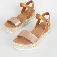 Rose Gold Leather-Look Espadrille Flatform Sandals New Look