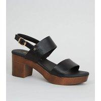 Black Leather-Look Wood Platform Block Heels New Look Vegan