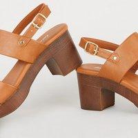 Tan Leather-Look Wood Platform Block Heels New Look Vegan