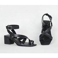 Black Leather-Look Strappy Block Heel Sandals New Look