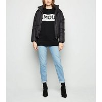 Black Colour Block Amour Slogan Sweatshirt New Look