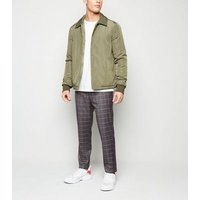 Mens Pale Grey Check Skinny Crop Trousers New Look