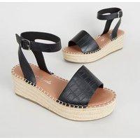 Wide Fit Black Faux Croc Espadrille Flatform Sandals New Look Vegan